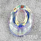 Austrain crystal beads, AB color, 30mm ring shape. Sold per pkg of 2.