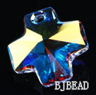 Austrain crystal pendants, AB color, 20mm cross shape. Sold per pkg of 2.