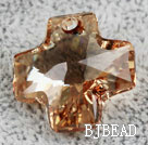 Austrain crystal pendants, smoked topaz color, 20mm cross shape. Sold per pkg of 2.