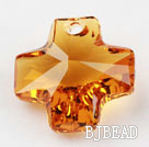 Austrain crystal pendants, citrine color, 20mm cross shape. Sold per pkg of 2.