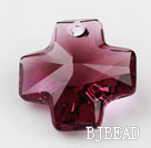 Austrain crystal pendants, purplish red, 20mm cross shape. Sold per pkg of 2.