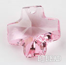Austrain crystal pendants, pink, 20mm cross shape. Sold per pkg of 2.
