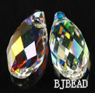 Austrain crystal pendants, AB color, 13mm edge hole. Sold per pkg of 2.