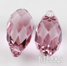 Austrain crystal pendants, pink, 13mm  edge hole. Sold per pkg of 2.