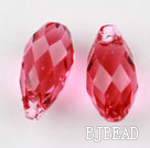 Austrain crystal pendants, red, 13mm  edge hole. Sold per pkg of 2.