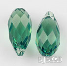 Austrain crystal pendants, green, 13mm  edge hole. Sold per pkg of 2.