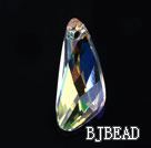 Austrian crystal pendants, AB color, 6mm inclined knife shape. Sold per pkg of 2.