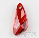 Austrian crystal pendants, red, 6mm inclined knife shape. Sold per pkg of 2.