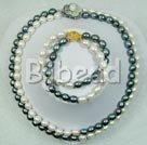 8-9mm double strand white and black pearl necklace bracelet sets