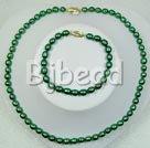 6-7mm dyed green pearl necklace bracelet sets