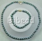 6-7mm black pearl necklace bracelet sets