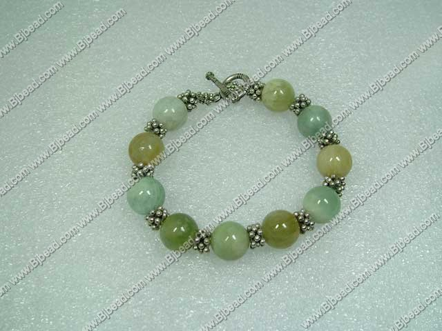 12mm aquamarine beads tibet silver beads bracelet with toggle clasp