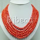 8mm 5-strands coral beaded necklace
