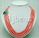 10mm 3-strands coral necklace