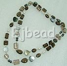 39 inches fashion long style smoky quartz and pearl shell necklace