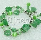 double strand aventurine and crystal and cat's eye bracelet 7 inches
