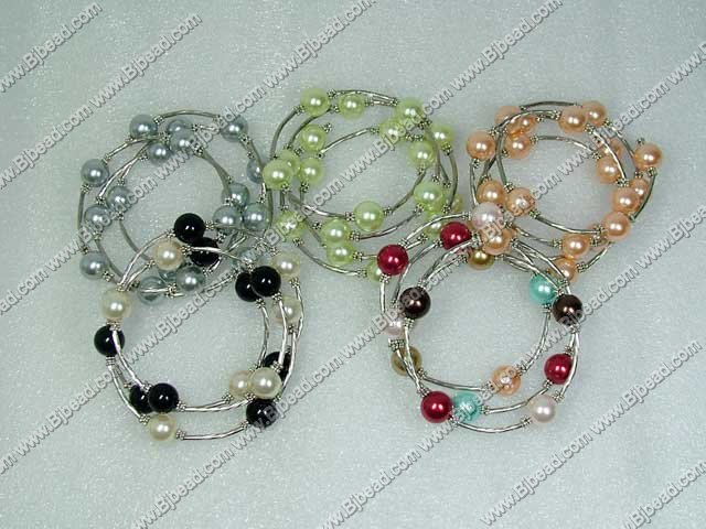 5 pieces 12mm multi color shell beads bangle