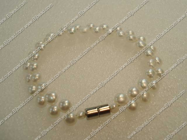6-7mm double strand natural white pearl bracelet with magnetic clasp
