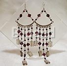 crystal and garnet chandelier earring