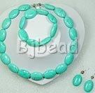chunky style 15*22mm burst pattern turquoise necklace bracelet sets