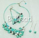 pearl and burst pattern turquoise necklace bracelet earrings sets