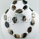 chunky style white and black agate necklace bracelet earring sets