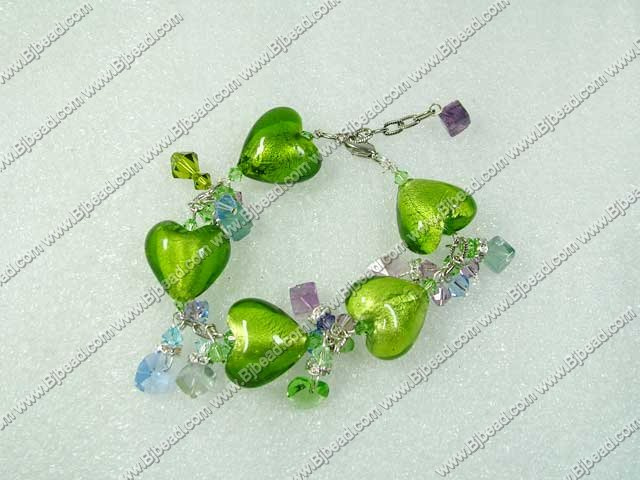 austrian crystal and colored green heart glaze bracelet with extendable chain