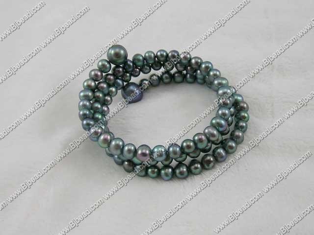 6-7mm black cultured fresh water pearl bracelet/bangle
