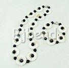 white shell and blue sandstone necklace bracelet sets
