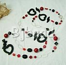 925 silver black agate and alaqueca and coral necklace