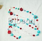 coral and turquoise 925 silver fashion necklace