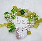 immitation jewelry peridot jade and crystal and shell bracelet