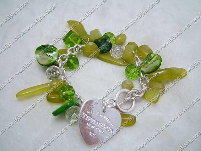 immitation jewelry peridot jade and crystal and shell bracelet