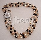 7-8mm pearl with shell flower clasp necklace