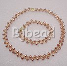 6-7mm waved 2 ros natural pearl necklace bracelet sets