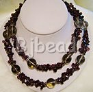 garnet and smoky quartz strand necklace