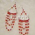 4mm manmade red crystal earrings