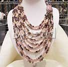 handcrafted 17-23.5 inches multi strand pearl and tourmaline necklace with gem clasp