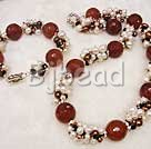 pearl and red carnelian sets