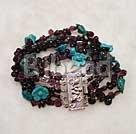 multi strand turquoise and garnet bracelet