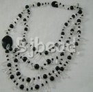 black agate and smoky quartz strand necklace
