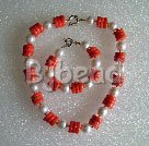 orange coral and white seashell beads necklace bracelet set