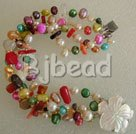 multi color pearl and coral bracelet