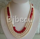 6-7mm pearl and coral strand necklace