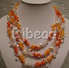 coral and pearl multi strand necklace with flower shell clasp