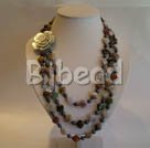 3 strand black pearl and indian agate necklace with flower shell clasp