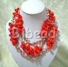pearl and coral strand necklace
