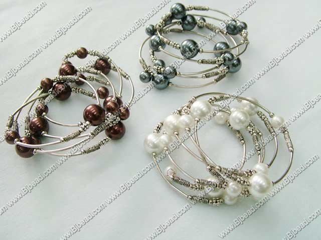 3PCS 3 color dyed arylic pearl bangle
