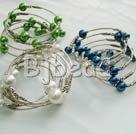 3 PCS 3 colors multi strand arylic pearl bangle