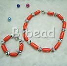 cloisonne and coral necklace bracelet sets with moonlight clasp